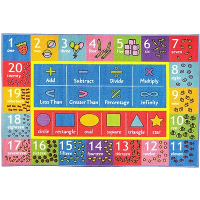 Weranna Math Symbols Numbers and Shapes Educational Learning Blue/Red Indoor/Outdoor Area Rug Rug Size: 82 x 910