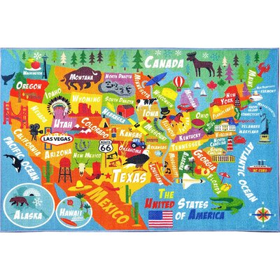 Weranna USA United States Geography Map Educational Learning Blue/Orange Indoor/Outdoor Area Rug Rug Size: 33 x 47
