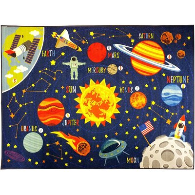 Weranna Outer Space Safari Road Map Educational Learning Blue Indoor/Outdoor Area Rug Rug Size: 82 x 910