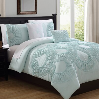 Eugene 5 Piece Comforter Set Color: Seafoam, Size: Queen