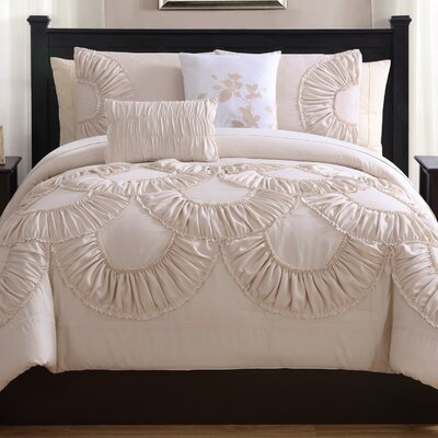Eugene 5 Piece Comforter Set Color: Dune, Size: King