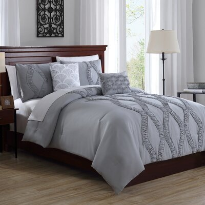 Roosevelt 5 Piece Comforter Set Size: Queen, Color: Deep Silver