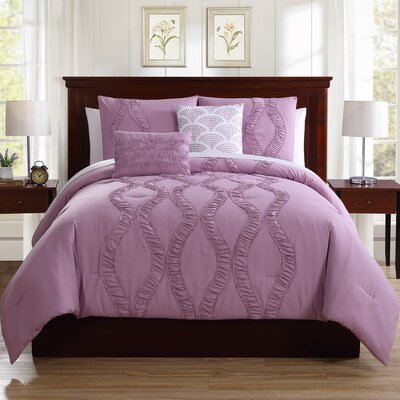 Roosevelt 5 Piece Comforter Set Size: King, Color: Lavender