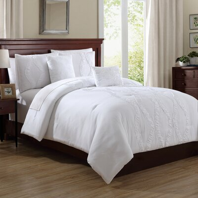 Roosevelt 5 Piece Comforter Set Size: Queen, Color: White