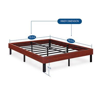 Wood Platform Bed Frame Size: King, Finish: Classic Brown