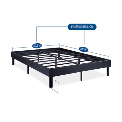 Wood Platform Bed Frame Size: Queen, Finish: Modern Black