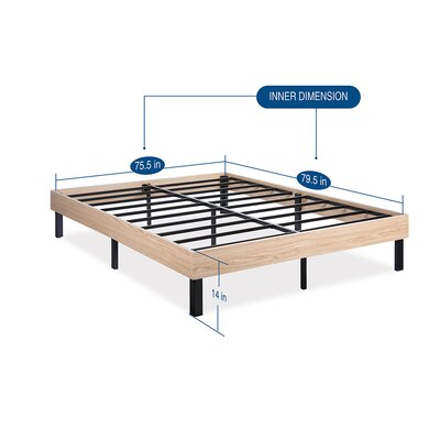 Classic Wood Platform Bed Frame Size: King