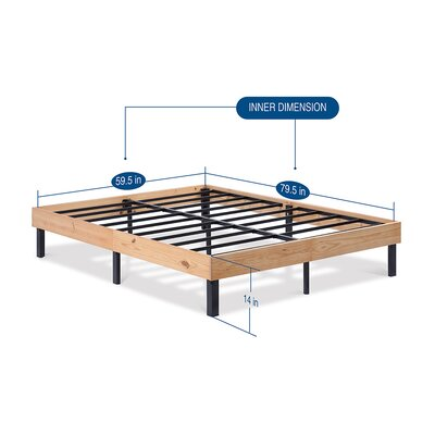 Classic Soild Wood Platform Bed Frame Size: Queen, Color: Natural
