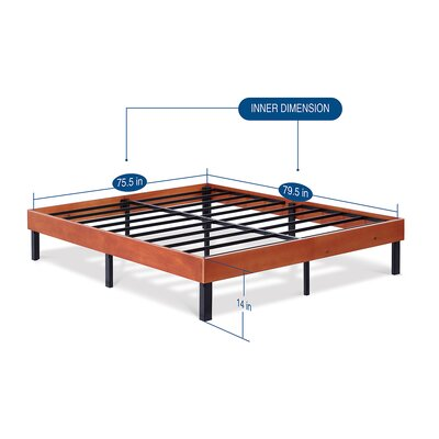 Classic Soild Wood Platform Bed Frame Size: King, Color: Cherry