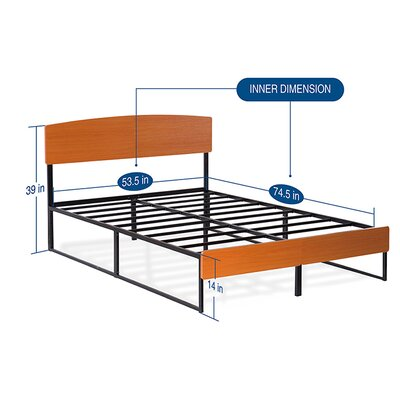 Wood/Metal Platform Bed with Dura Steel Slat Support Size: Full