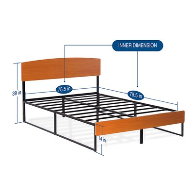 Wood/Metal Platform Bed with Dura Steel Slat Support Size: King