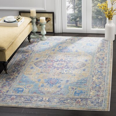 Norwood Blue/Beige Area Rug Rug Size: 51 x 79