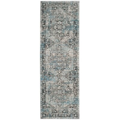 Norwood Oriental Blue/Gray Area Rug Rug Size: Runner 26 x 79