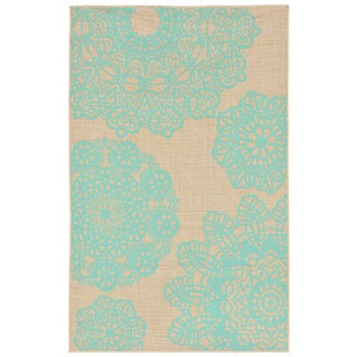 Devondra Neutral/Aqua Indoor/Outdoor Area Rug Rug Size: 33 x 411