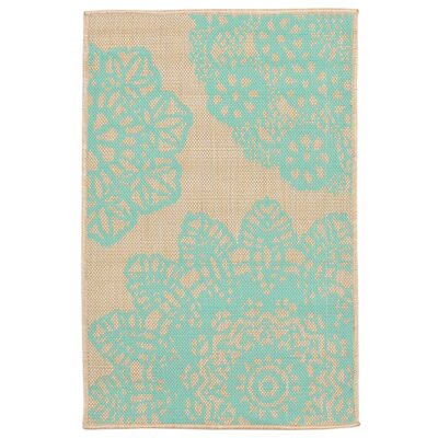 Devondra Neutral/Aqua Indoor/Outdoor Area Rug Rug Size: 111 x 211