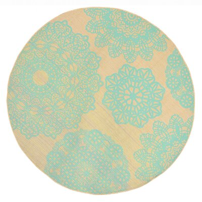 Devondra Neutral/Aqua Indoor/Outdoor Area Rug Rug Size: Round 710