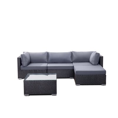 Danbury Deep Seating Sectional with Cushions Finish: Black