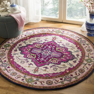 Blokzijl Hand-Tufted Wool Purple Area Rug Rug Size: Round 5