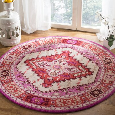 Marco Hand-Tufted Red Pink/Ivory Area Rug Rug Size: Round 5 x 5