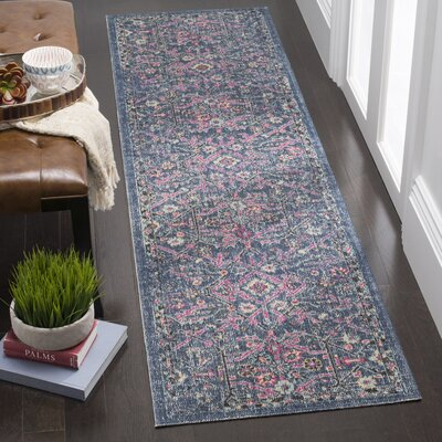 Manya Blue/Gray Area Rug Rug Size: Runner 22 x 8
