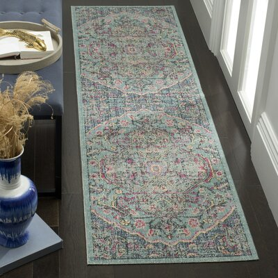 Manya Oriental Blue/Gray Area Rug Rug Size: Rectangle 67 x 9