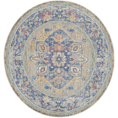 Norwood Blue/Beige Area Rug Rug Size: Round 67