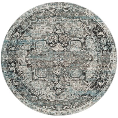 Norwood Oriental Blue/Gray Area Rug Rug Size: Round 67