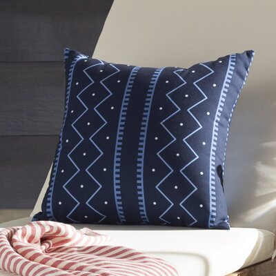 Arlo Mudcloth Geometric Outdoor Throw Pillow Size: 18 H x 18 W, Color: Navy Blue