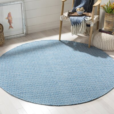 Dormody Hand-Woven Ivory/Blue Area Rug Rug Size: Round 6