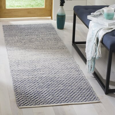 Margie Hand-Woven Navy/Ivory Area Rug Rug Size: Runner 23 x 7