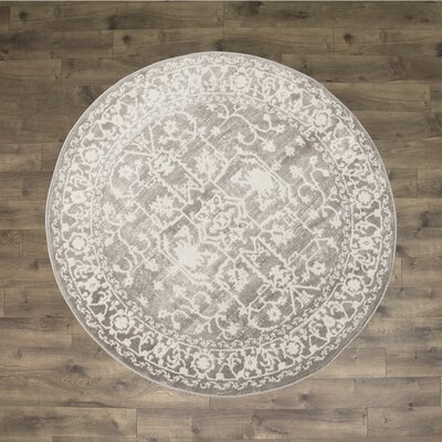 Bryant Light Gray Area Rug Rug Size: Round 6