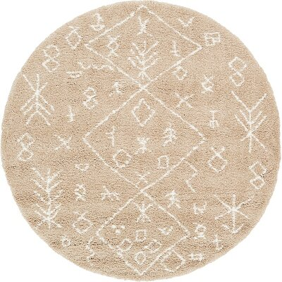 France Machine woven Taupe Area Rug Rug Size: Round 8