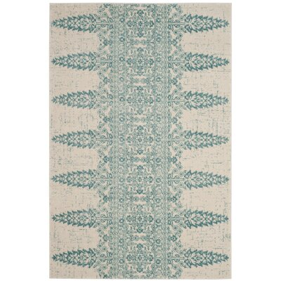 Elson Ivory/Teal Area Rug Rug Size: Rectangle 4 x 6