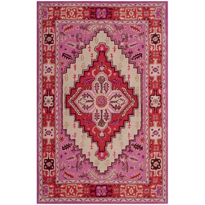 Marco Hand-Tufted Red Pink/Ivory Area Rug Rug Size: Rectangle 4 x 6