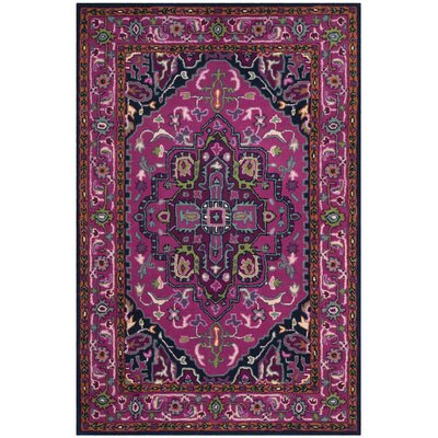 Blokzijl Hand-Tufted Wool Pink/Navy Area Rug Rug Size: Rectangle 3 x 5