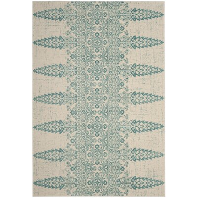 Elson Ivory/Teal Area Rug Rug Size: Rectangle 51 x 76