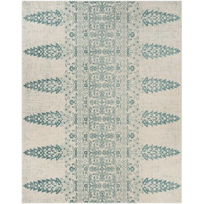 Elson Ivory/Teal Area Rug Rug Size: Rectangle 8 x 10
