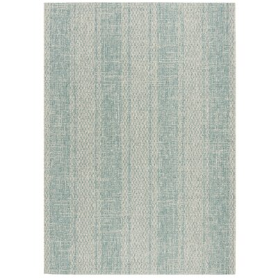 Myers Abstract Gray/Aqua Indoor/Outdoor Area Rug Rug Size: Rectangle 4 x 57