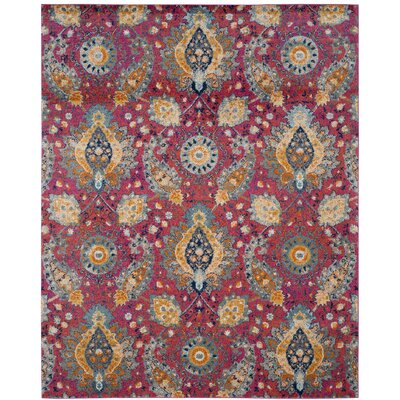 Grieve Pink/Gold Area Rug Rug Size: Rectangle 8 x 10