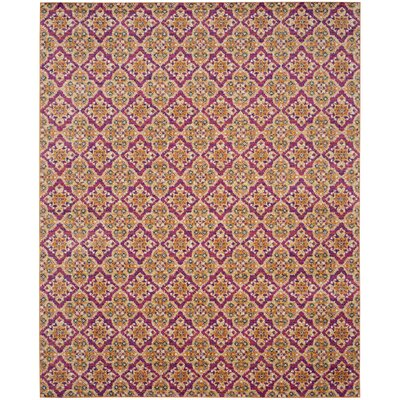 Loretta Pink/Gold Area Rug Rug Size: Rectangle 8 x 10