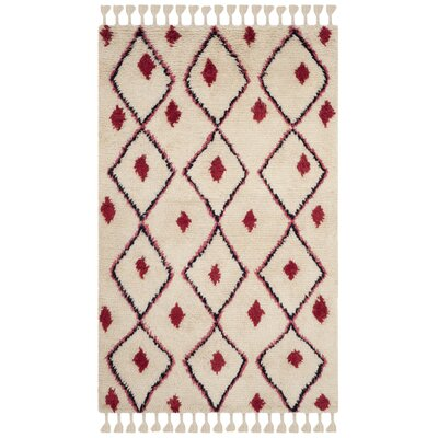 Lockheart Hand-Tufted Beige/Red Area Rug Rug Size: Rectangle 5 x 8