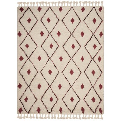 Lockheart Hand-Tufted Beige/Red Area Rug Rug Size: Rectangle 8 x 10