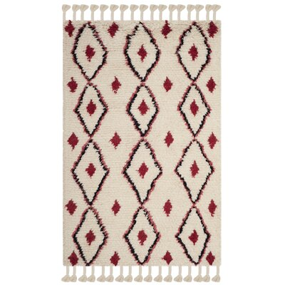 Lockheart Hand-Tufted Beige/Red Area Rug Rug Size: Rectangle 4 x 6