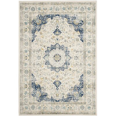 Elson Ivory & Blue Area Rug Rug Size: Rectangle 51 x 76