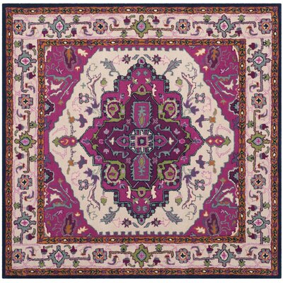 Blokzijl Hand-Tufted Wool Purple Area Rug Rug Size: Square 5