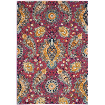 Grieve Pink/Gold Area Rug Rug Size: Rectangle 51 x 76