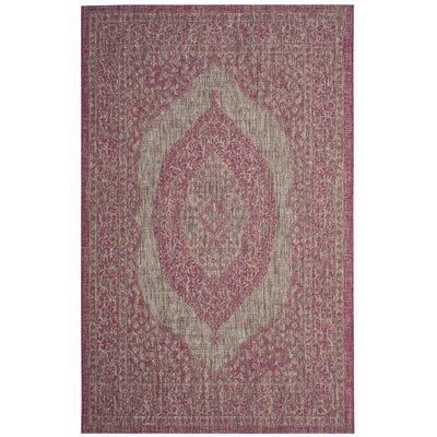 Myers Gray/Fuchsia Indoor/Outdoor Area Rug Rug Size: Rectangle 53 x 77