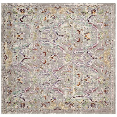 Lulu Rectangle Gray/Light Blue Area Rug Rug Size: Square 67
