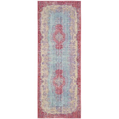 Bangou Light Blue/Fuchsia Area Rug Rug Size: Runner 3 x 10