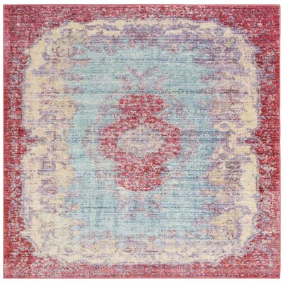 Bangou Light Blue/Fuchsia Area Rug Rug Size: Square 6
